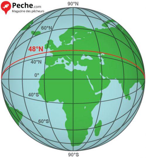 Le 48e parallèle sur le globe
