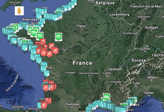 carte interactive établie par l'association Pleine Mer permettant de mettre en relation les pêcheurs artisans et les consommateurs