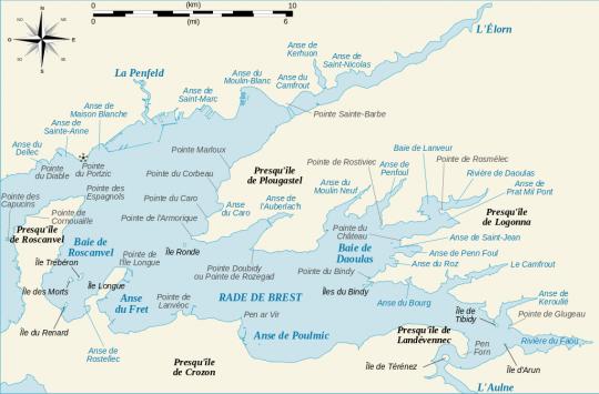 La rade de Brest et son profil très découpé